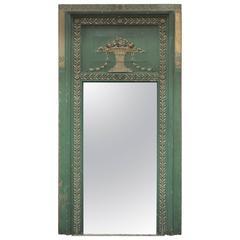 French Louis XVI Style Trumeau Mirror Original Patina, circa 1880
