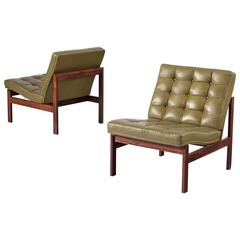 Pair of Easy Chairs in Green Leather for France & Søn