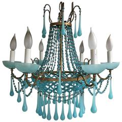 Glamorous Opaline Blue and Gold Murano Glass Chandelier