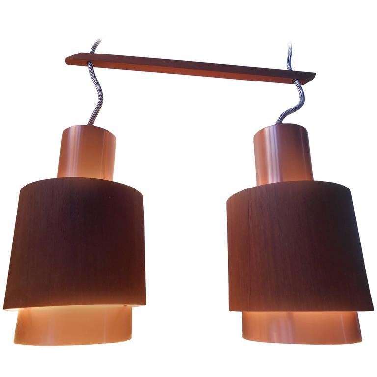 Scandinavian teak and ros copper pendant lamp 1960s mid for Mid century modern hanging lamp