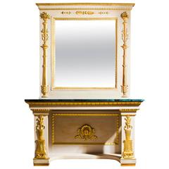Antique Roman Console Table with Mirror and Marble Top