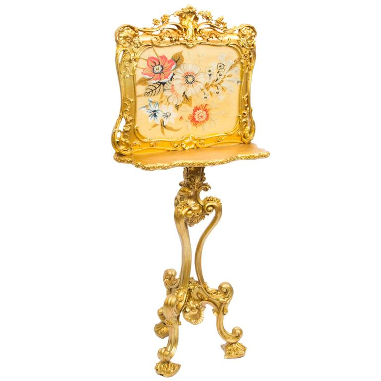 19th Century Victorian Giltwood Fire Screen For Sale