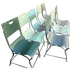 Set of Eight French 1930s Painted Steel Chairs