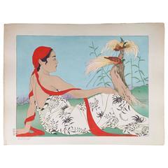 Paul Jacoulet Woodblock Print, Les Paradisiers, Menado, Celebes