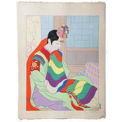 Woodblock Print by Paul Jacoulet, La Mariee Seoul, Coree, 1948