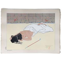 JAPANESE Woodblock Print by Paul Jacoulet, Retour d'un Banquet, Coree Seoul