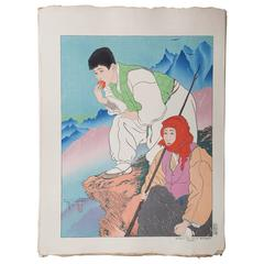 JAPANESE Woodblock Print by Paul Jacoulet, Bergères Des Haute Montagnes