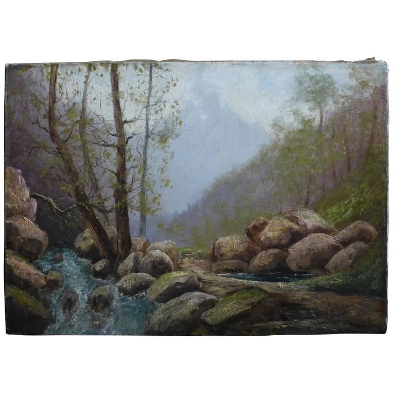 By Godchaux Oil on Canvas French Mountain Circa 1900 For Sale