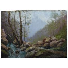 Oil on Canvas, circa 1900 Called 'French Mountain Stream' by Emile Godchaux