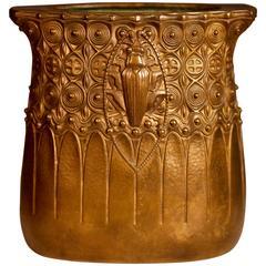 Gustav Gurschner Beetle Bronze Vase, Vienna Secession, Early 20th Century