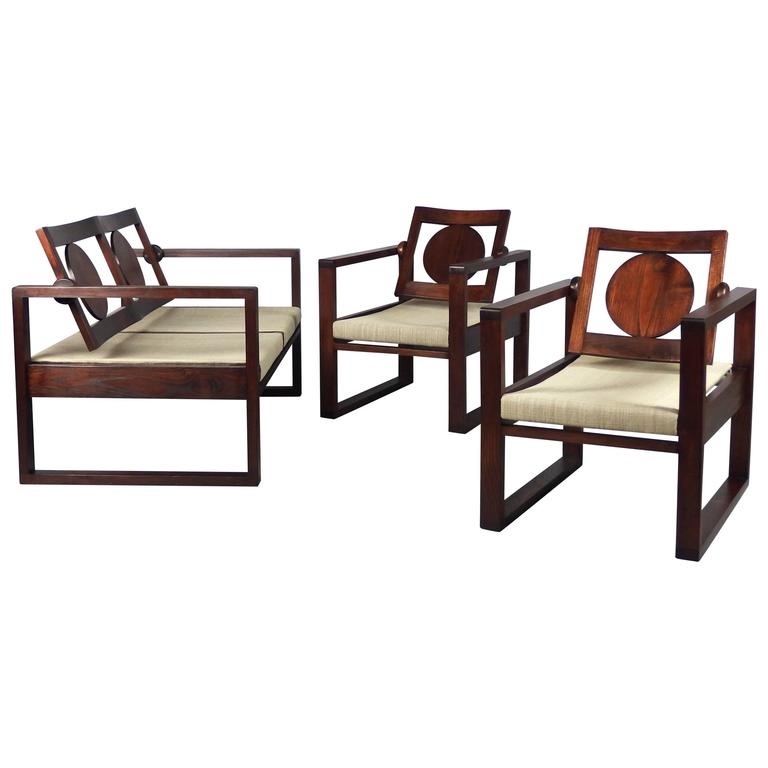 Basque art deco style pair of armchairs and sofa at 1stdibs for Art deco style sofa