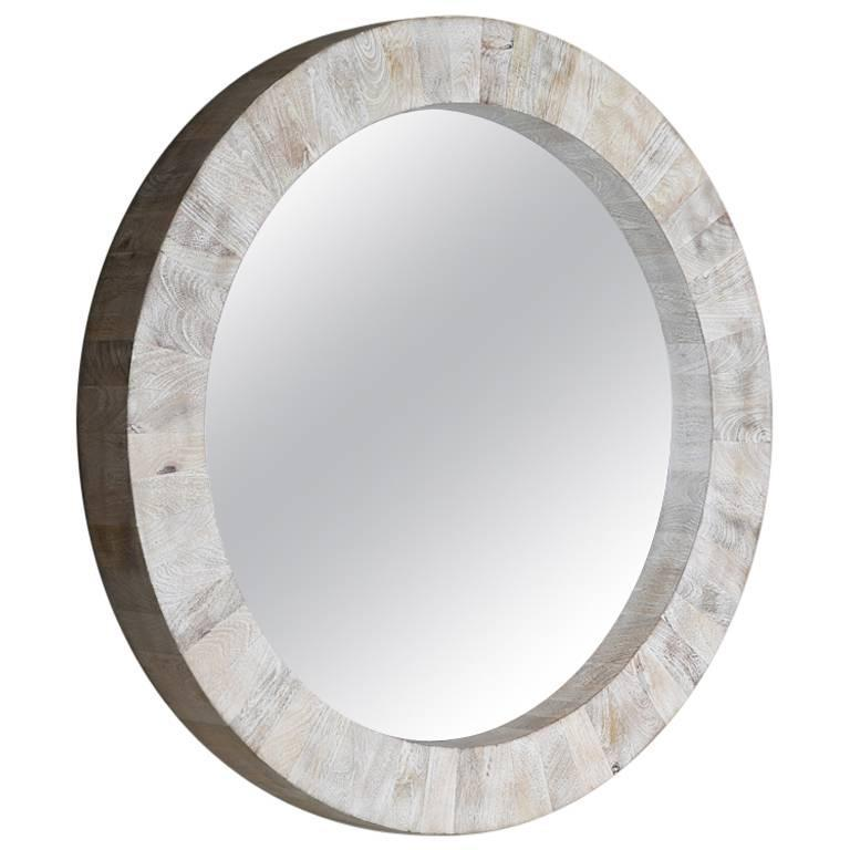 Circular Mango Wood Wall Mirror