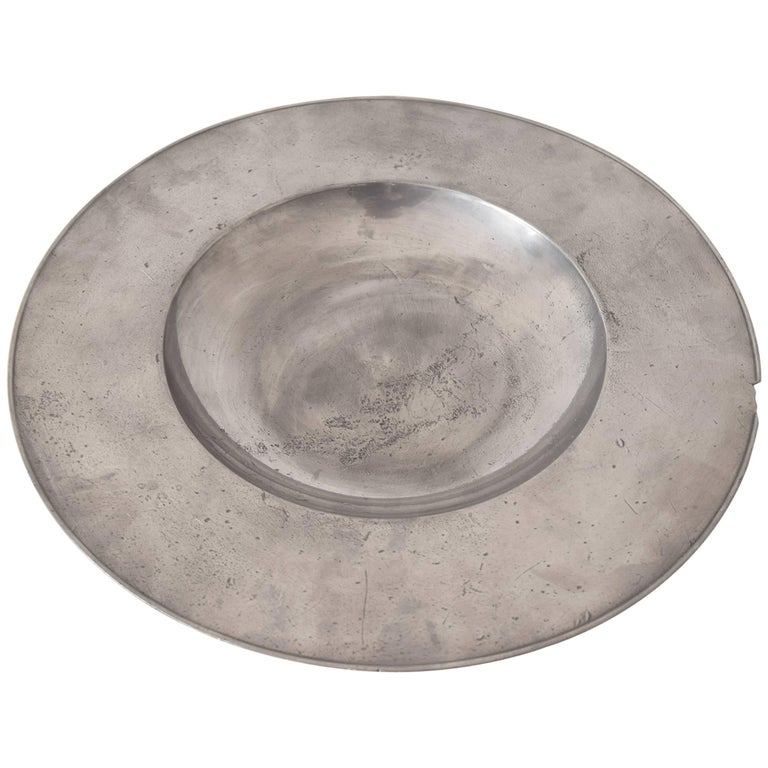 Large Polished Pewter Dish, Dutch, 17th Century For Sale