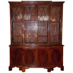 English Mahogany Glass Front & Oval Inlaid Breakfront, Circa 1800