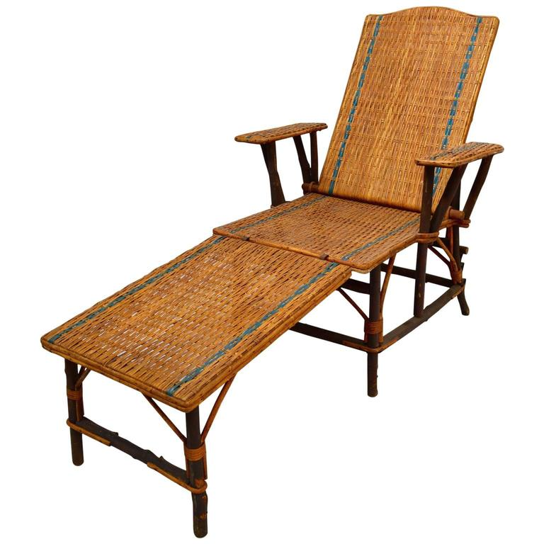 Vintage French Woven Rattan Wicker Lounge Chair