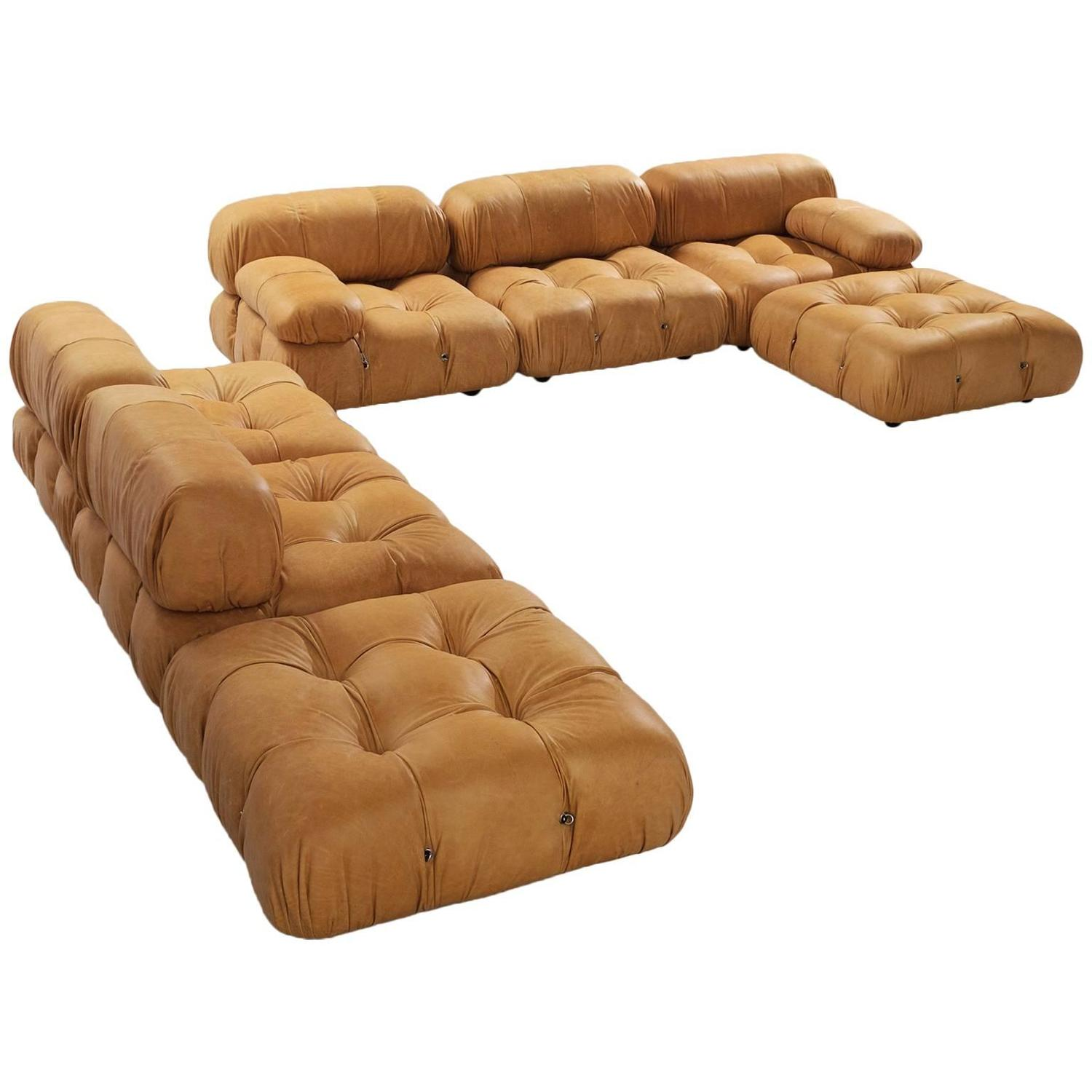 large sectional 39 camaleonda 39 sofa in cognac leather by. Black Bedroom Furniture Sets. Home Design Ideas