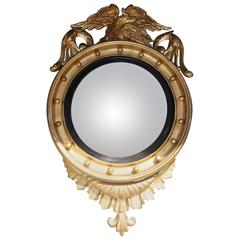 American Federal Gilt Convex Mirror with Perched Eagle, Circa 1820