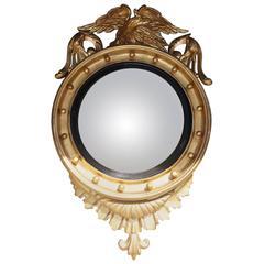 American Federal Gilt Convex Mirror with Perched Eagle, Circa 1820