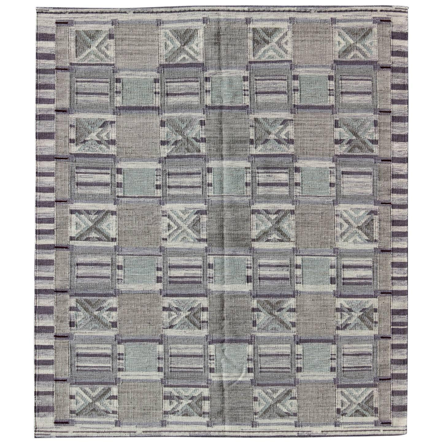 Mid 20th Century Modern Scandinavian Area Rug At 1stdibs: Modern Scandinavian Kilim Carpet With Geometric Design For