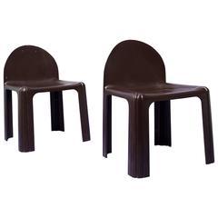 "1968, Gae Aulenti, Kartell, Pair of ""4854"" Brown Chairs"