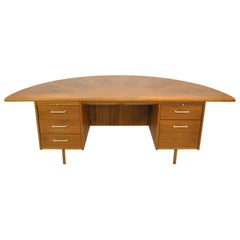 Mid-Century Executive Desk w Curved Top by Wood Design of French Lick, Indiana