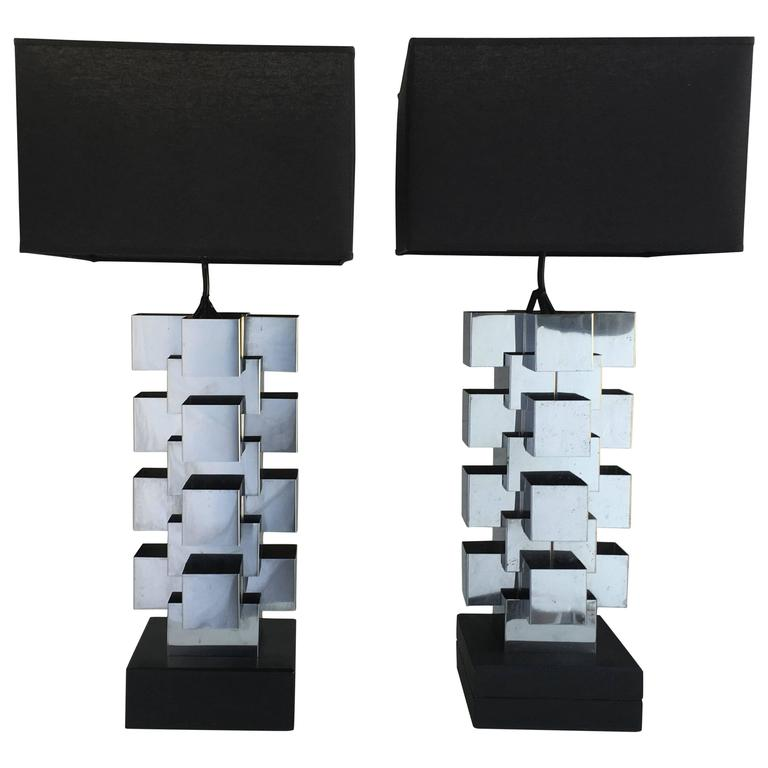 "Curtis Jere Chrome ""Skyscraper"" Table Lamps, Pair"