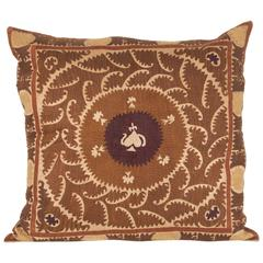 Vintage Uzbek Embroidered Pillow, Central Asia, 1960-1970