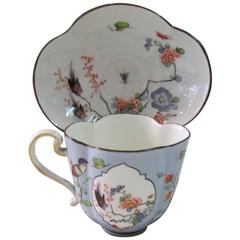 Antique 18th Century Meissen Hand-Painted Porcelain Kaikemon Cup & Saucer