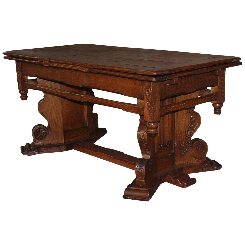 Coffee Table Extendable Legs: 19th Century Dutch Extendable Oakwood Coffee Table For