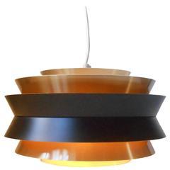 """Carl Thore 1960s """"Trava"""" Brass Pendant Ceiling Light for Granhaga, Sweden"""