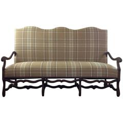 Vintage French Louis XIII Style Loveseat Upholstered in Ralph Lauren Plaid