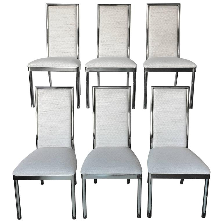 Brass Dining Chairs in the Style of Milo Baughman, Set of Six