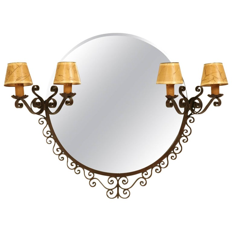 French Art Deco Mirror with Built-in Sconces For Sale