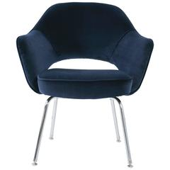 Saarinen for Knoll Executive Arm Chairs in Navy Velvet
