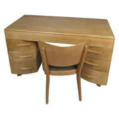 Vintage 1950s Birch Kneehole Desk & Chair by Heywood Wakefield