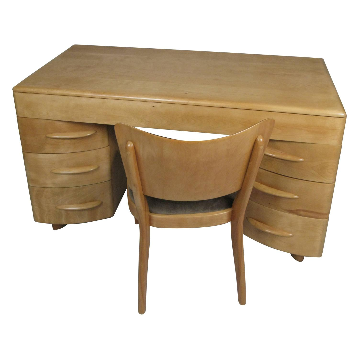 Vintage 1950s Birch Kneehole Desk And Chair By Heywood Wakefield At 1stdibs