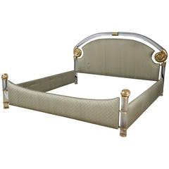 Brass and Lucite King Bed by Marcello Mioni