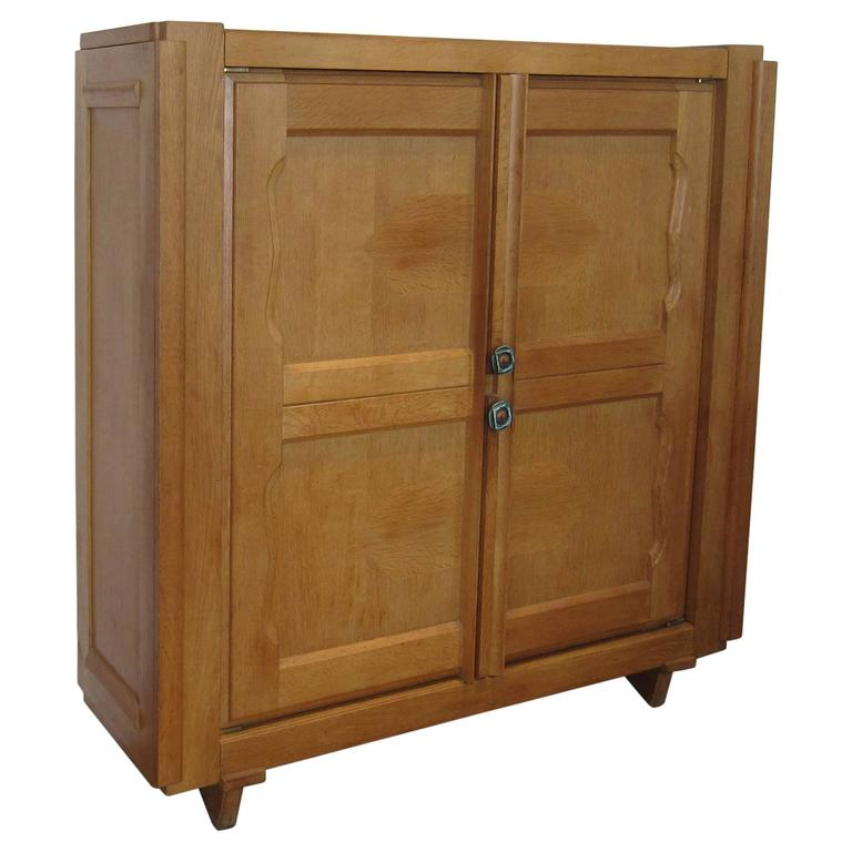 solid oak cabinet by guillerme and chambron france 1950s for sale at 1stdibs. Black Bedroom Furniture Sets. Home Design Ideas