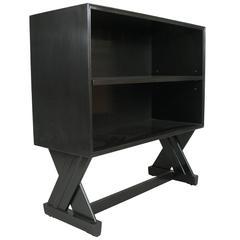 Modern X-Base Ebonized Bookcase by Paul Laszlo