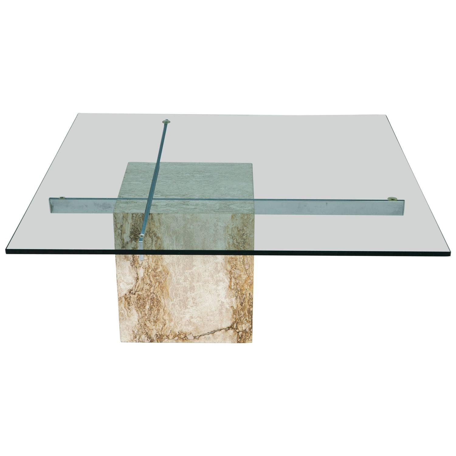 Artedi Travertine and Chrome Coffee Table at 1stdibs