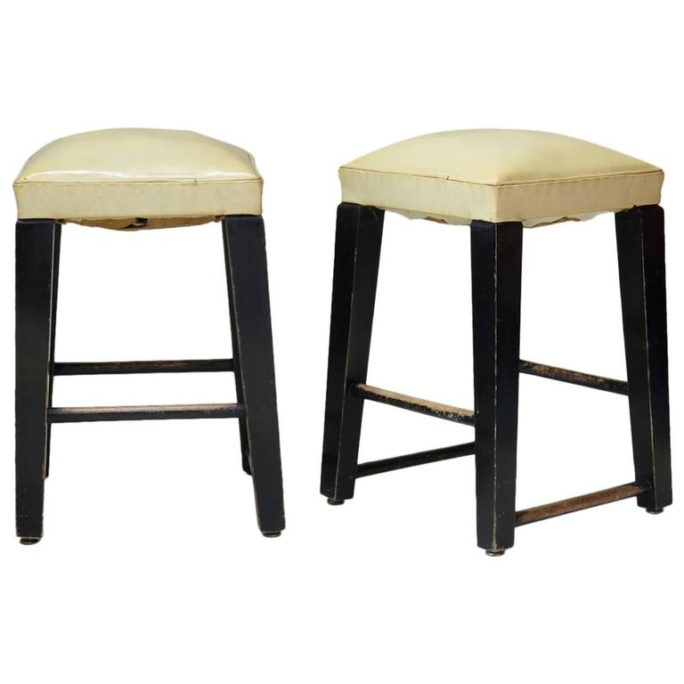 Pair of Wood and Faux-Leather Stools, France, circa 1950s