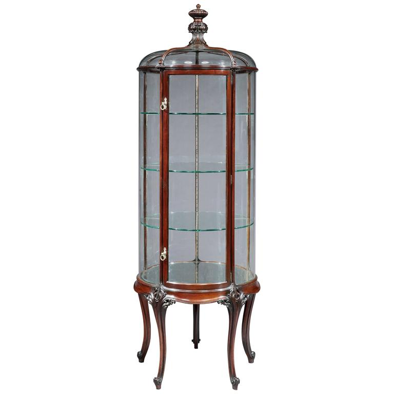 English Circular Glass Display Cabinet, 19th Century 1 - English Circular Glass Display Cabinet, 19th Century For Sale At