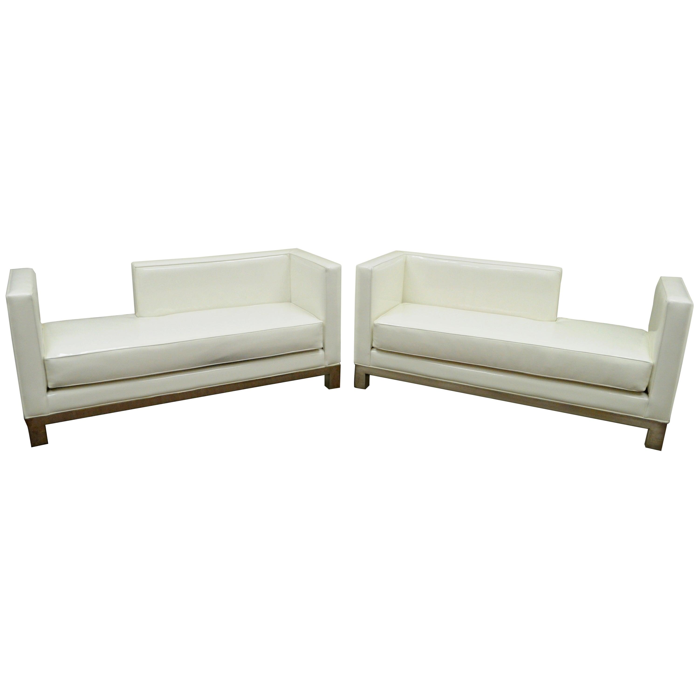 Pair of J.A. Casillas Modern White Vinyl Chrome Brushed Metal Chaise Lounge  Sofa