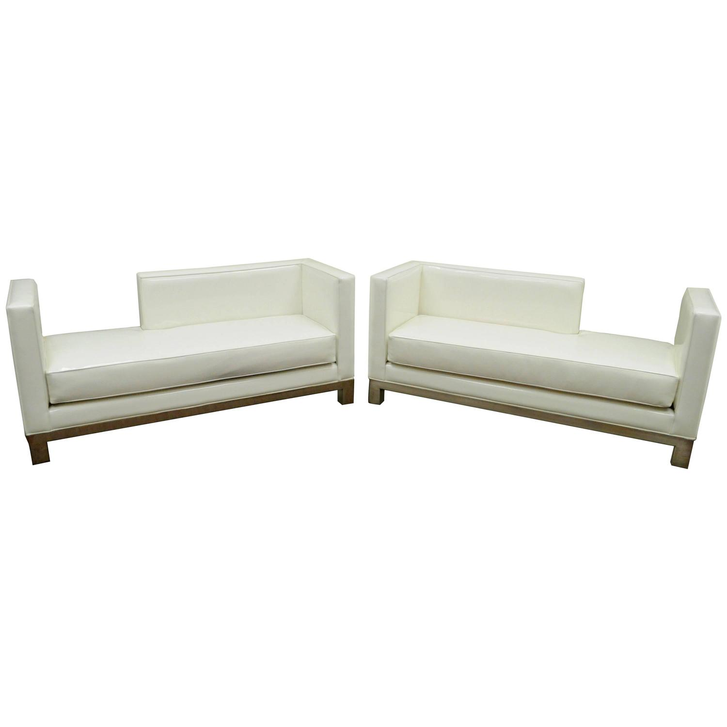 Leather chaise lounge modern great pair of ja casillas for Black metal chaise lounge