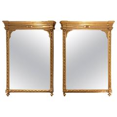 Pair of 19th Century Giltwood and Gesso Mirrors