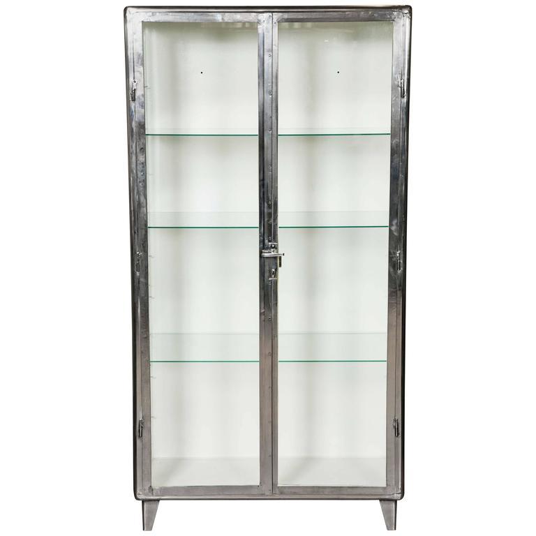vintage industrial midcentury polished medicine cabinet at