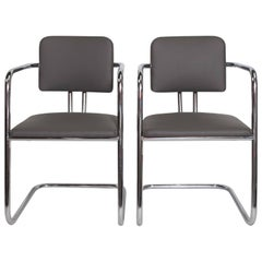Pair of Signed Cantilevered Streamline Gilbert Rohde for Troy Sunshade Chairs