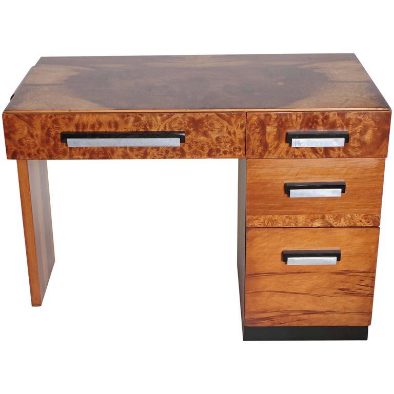 Multiple, Burled and Ebonized Original Hastings Art Deco Desk