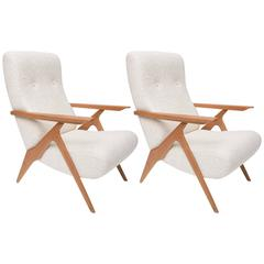 "Pair of ""Piuma"" Adjustable Lounge Chairs by Carlo Mollino for Antonino Gorgone"