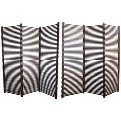Large Six Panels Wood Slat Room Divider
